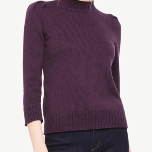 5a5c4d6b0c Ann taylor plum purple mock neck sweater NWT